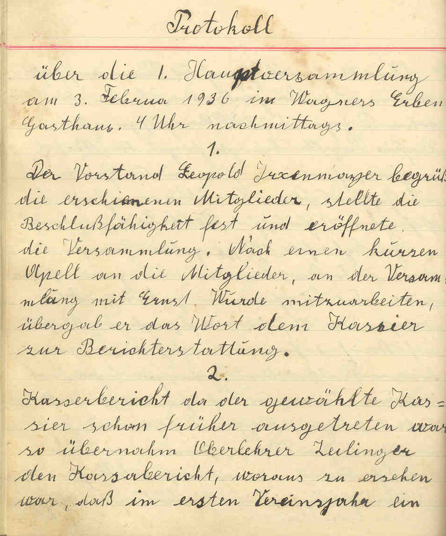 Protokoll der 1. Hauptversammlung 1936
